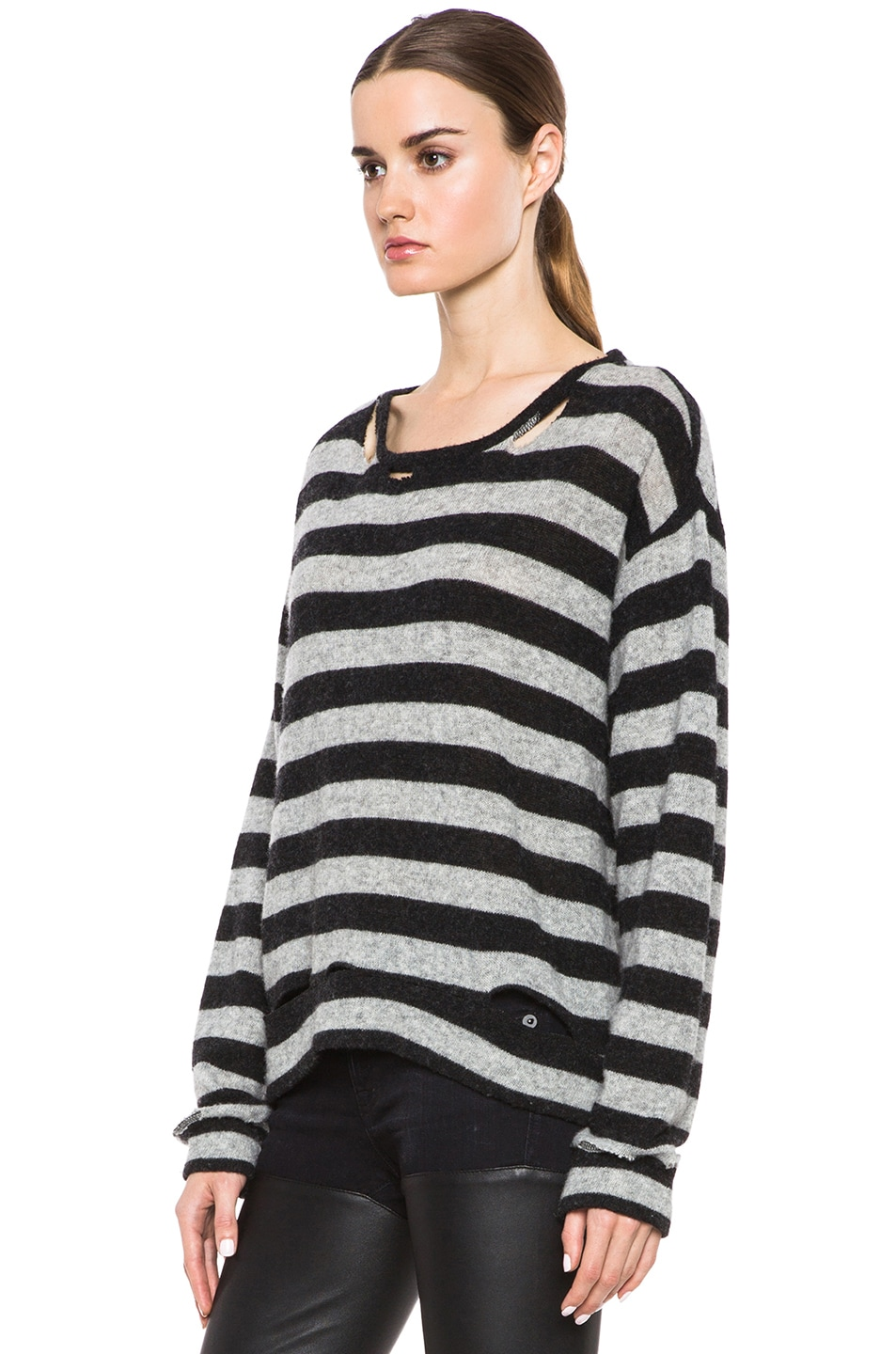 R13 Kate Striped Wool-Blend Sweater with Holes in Grey & Black | FWRD