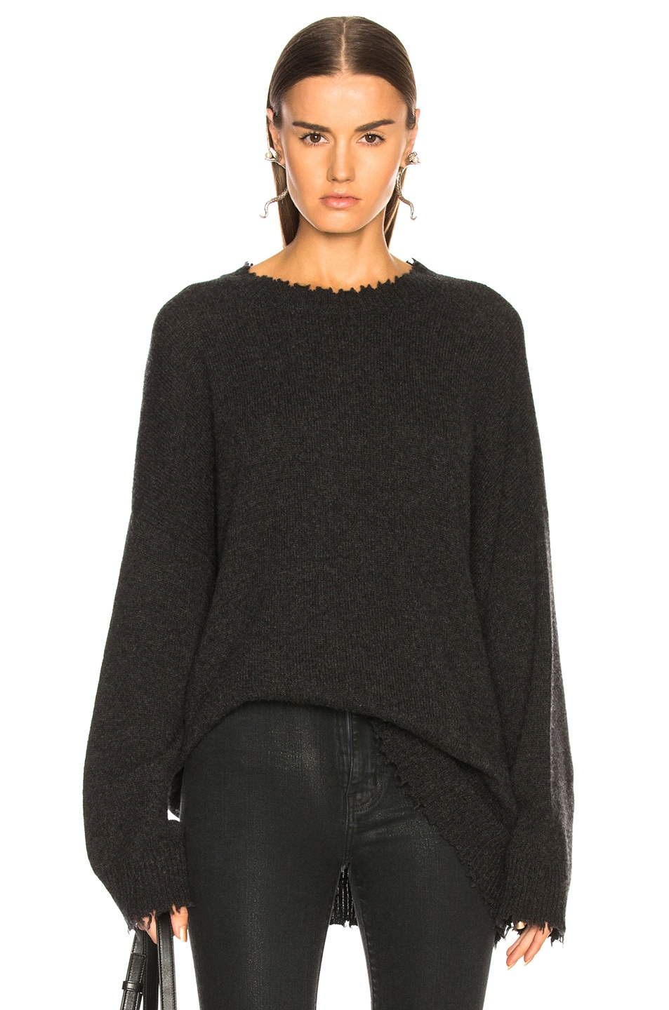 Image 1 of R13 Boyfriend Cashmere Crewneck Sweater in Charcoal