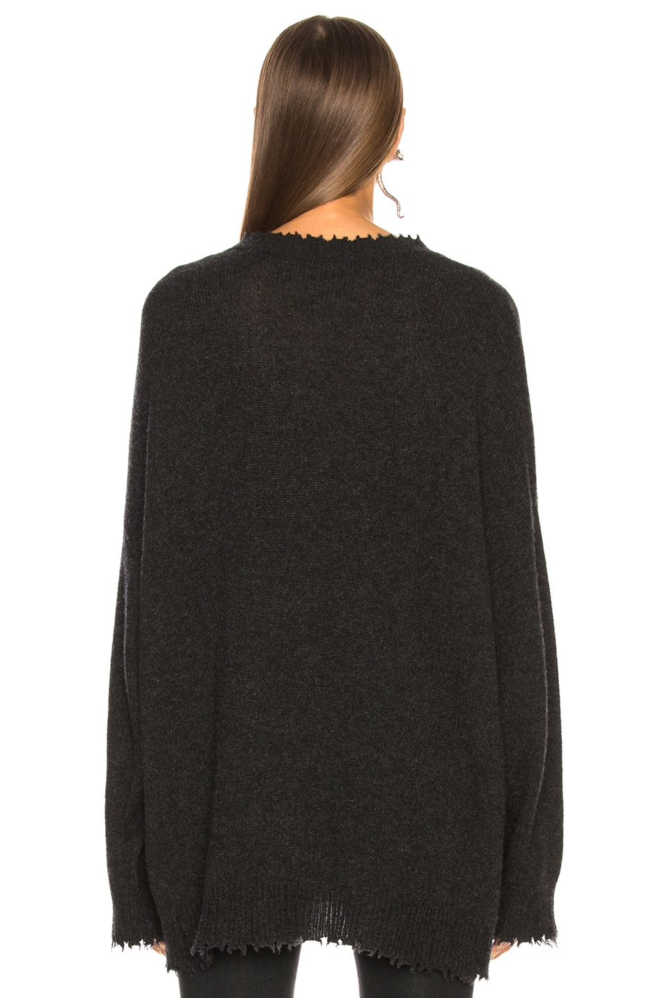 Image 3 of R13 Boyfriend Cashmere Crewneck Sweater in Charcoal