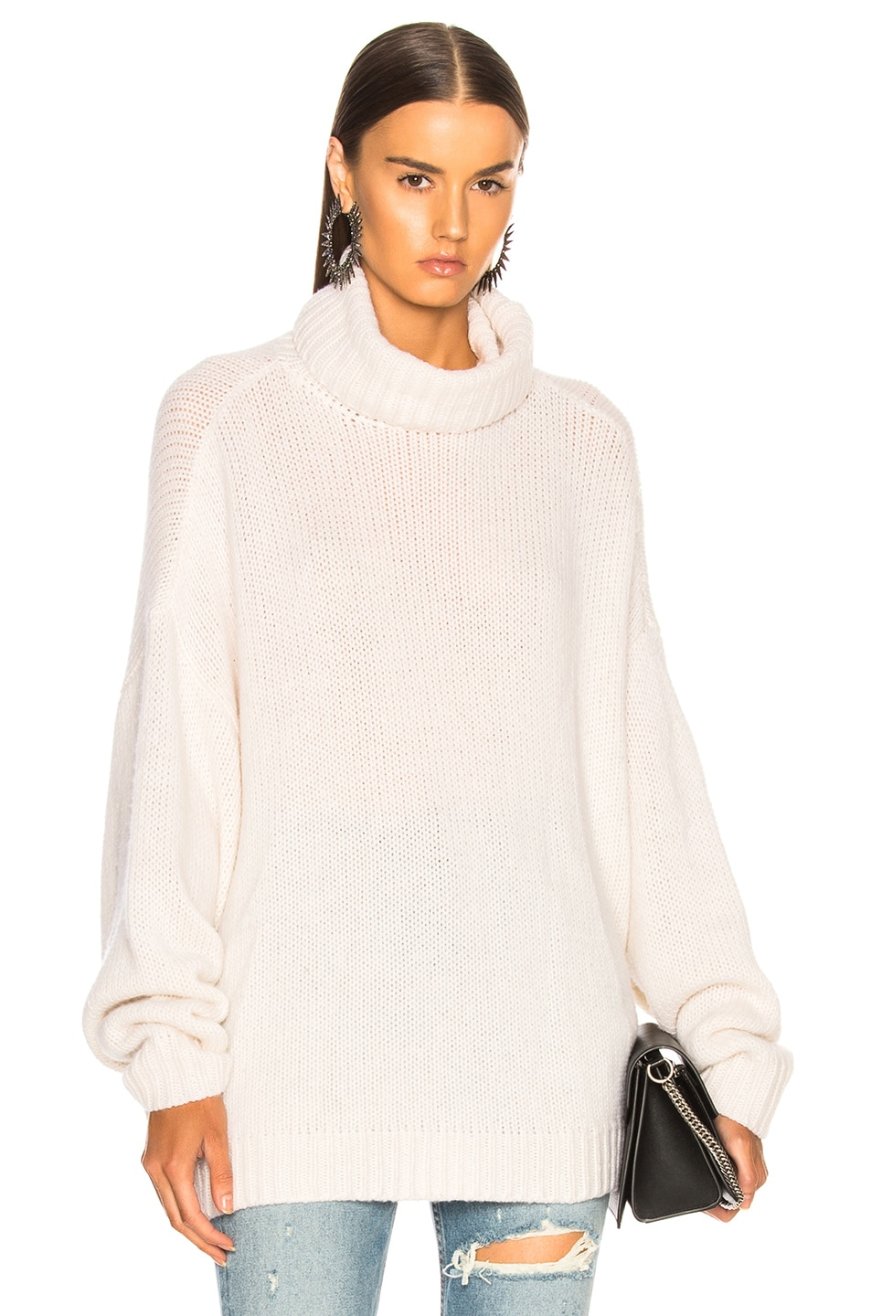 Image 1 of R13 Boyfriend Cashmere Turtleneck Sweater in Ecru