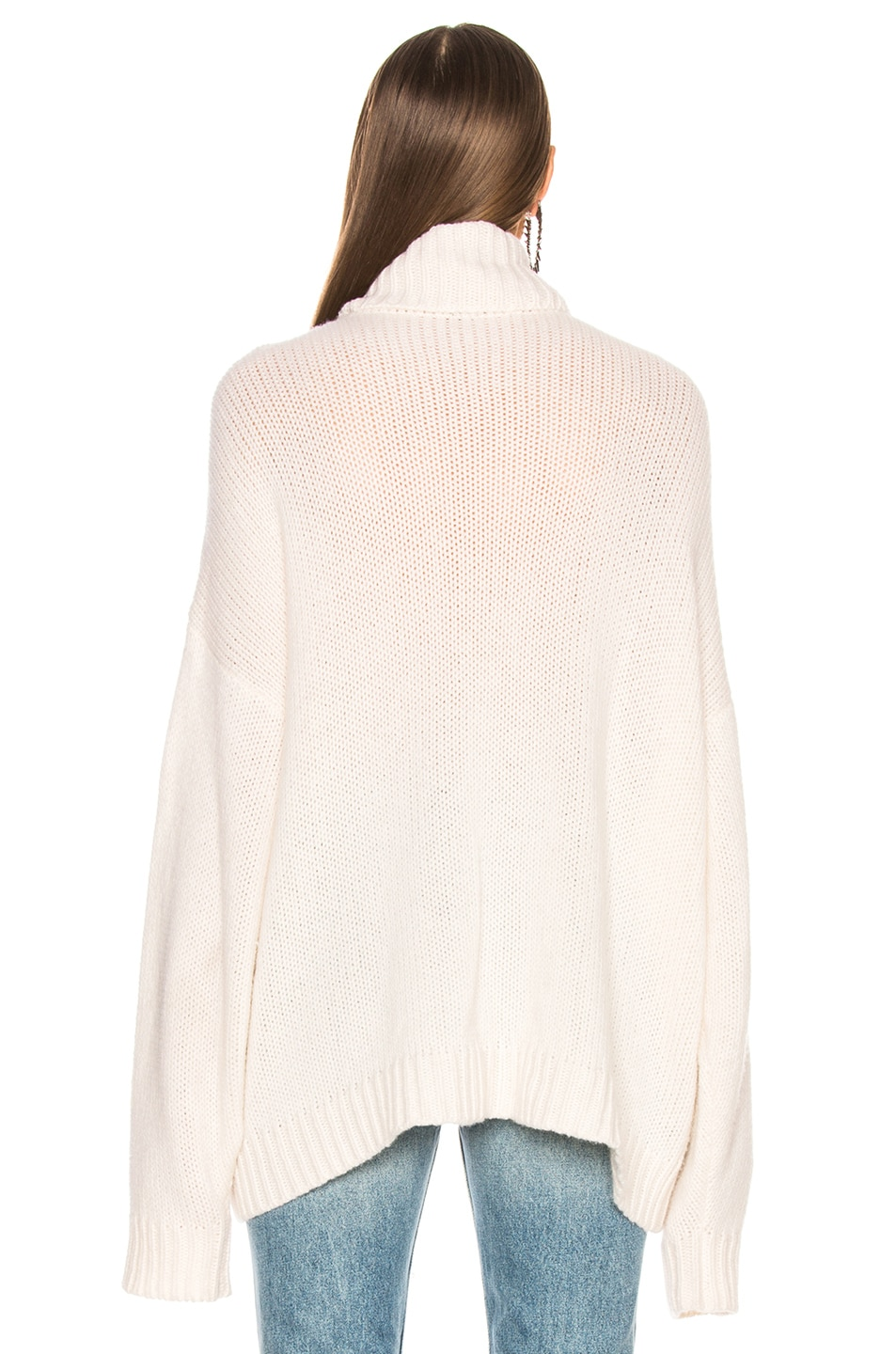 Image 3 of R13 Boyfriend Cashmere Turtleneck Sweater in Ecru