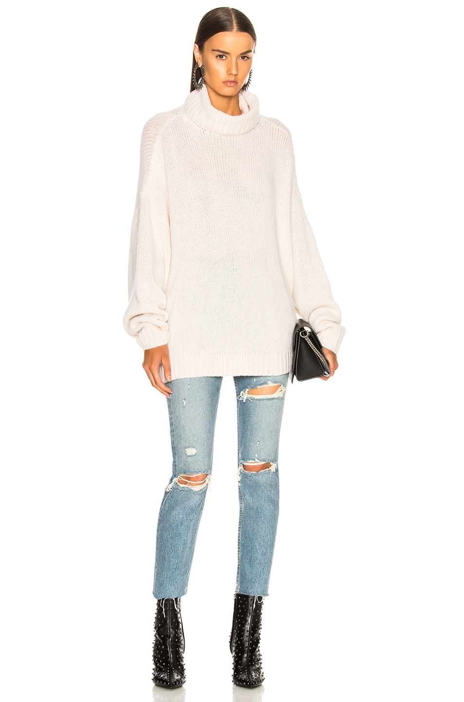 Image 4 of R13 Boyfriend Cashmere Turtleneck Sweater in Ecru
