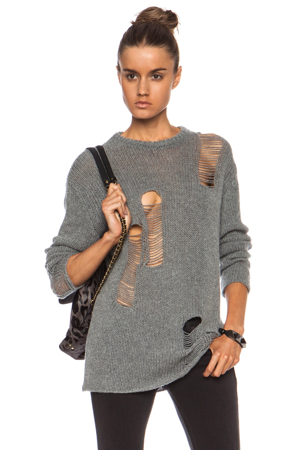 Image 1 of R13 Shredded Crew Cashmere Sweater in Heather Grey 58bc9f1fa