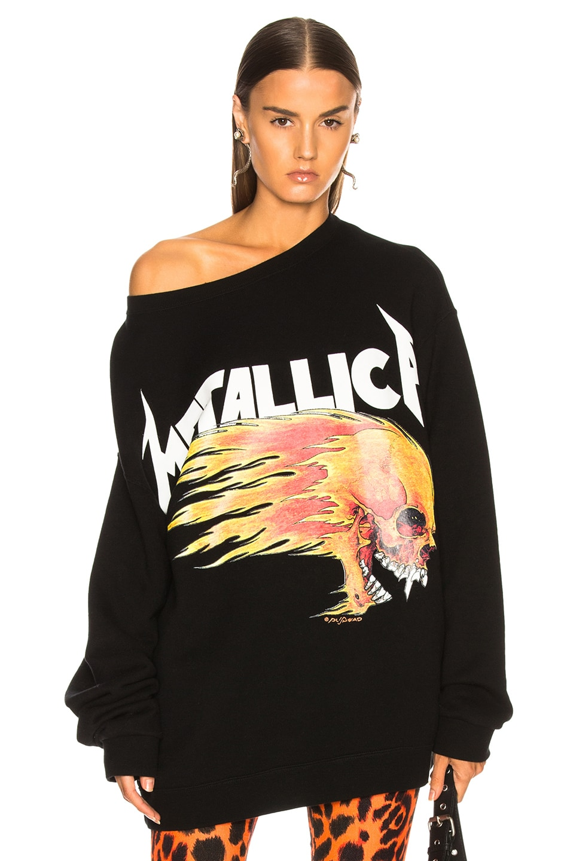 Image 1 of R13 Flaming Skull Sweatshirt in Black