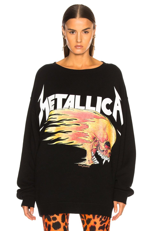 Image 2 of R13 Flaming Skull Sweatshirt in Black