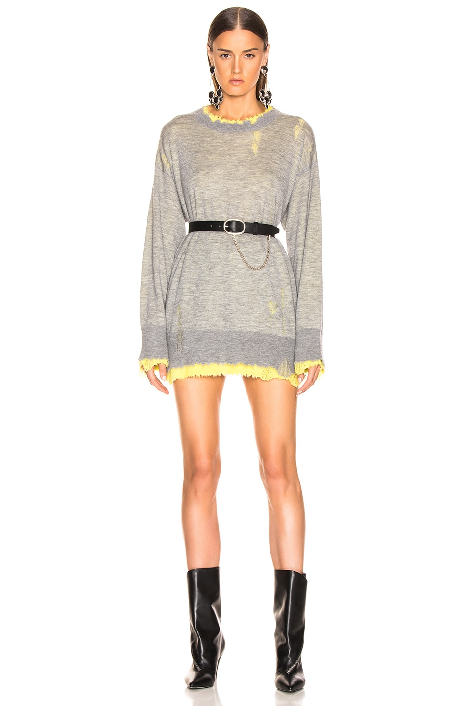 Image 1 of R13 Reversible Crewneck Sweater in Heather Grey & Yellow