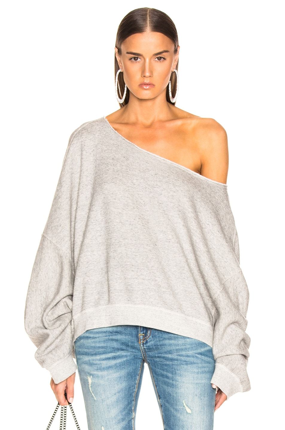 Image 1 of R13 Off Shoulder Patti Sweatshirt in Heather Grey
