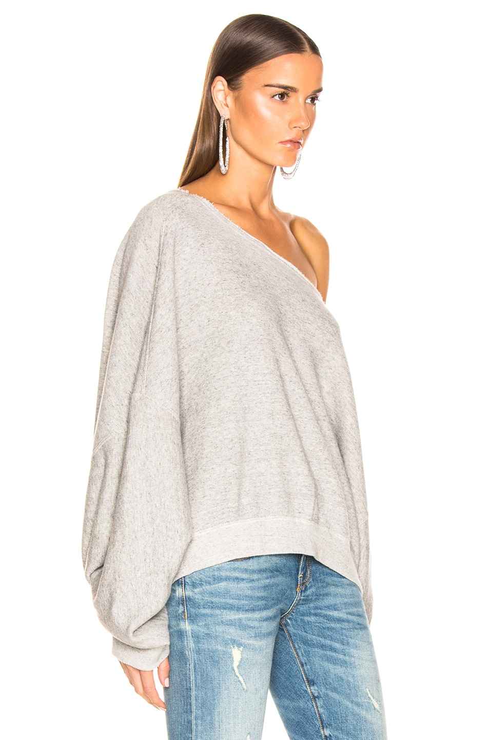 Image 2 of R13 Off Shoulder Patti Sweatshirt in Heather Grey