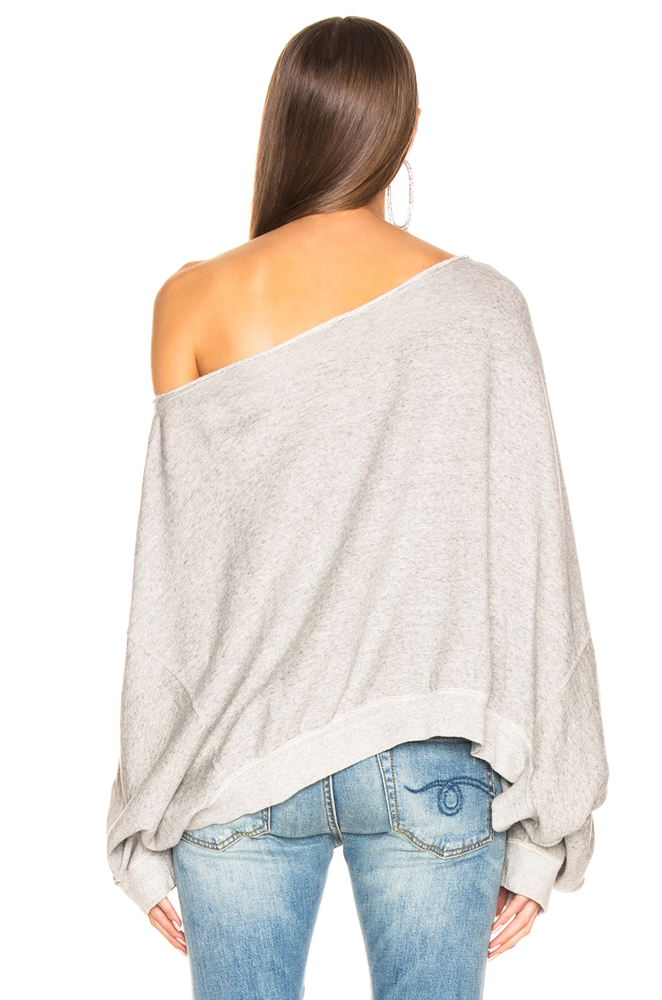 Image 3 of R13 Off Shoulder Patti Sweatshirt in Heather Grey