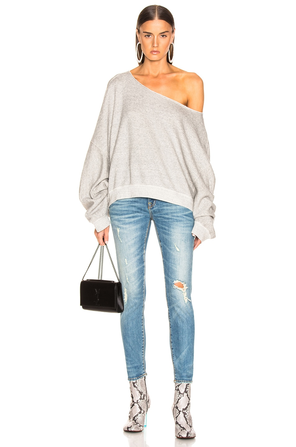 Image 4 of R13 Off Shoulder Patti Sweatshirt in Heather Grey