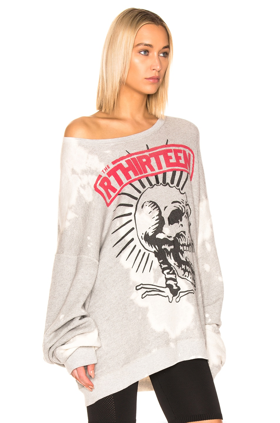 Image 2 of R13 Exploited Punk Oversized Crewneck Sweater in Heather Grey & Bleach