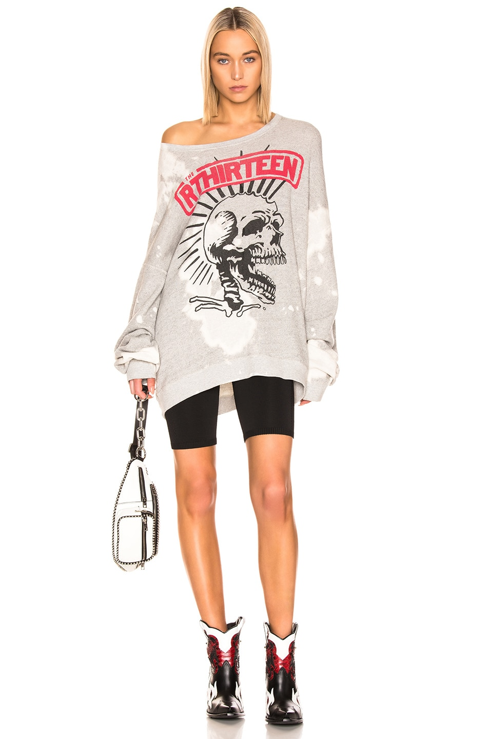 Image 4 of R13 Exploited Punk Oversized Crewneck Sweater in Heather Grey & Bleach