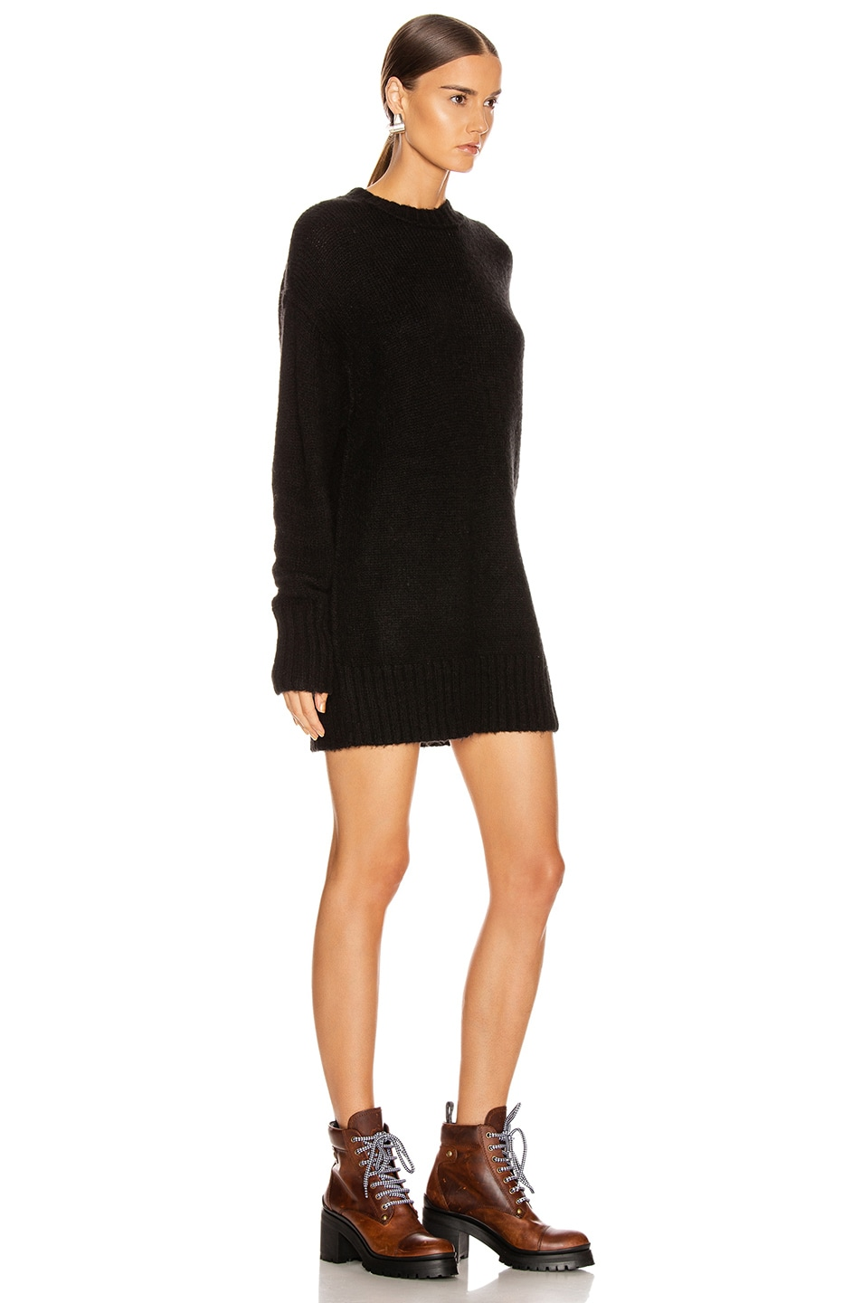 Image 2 of R13 Oversized Crewneck Sweater in Black