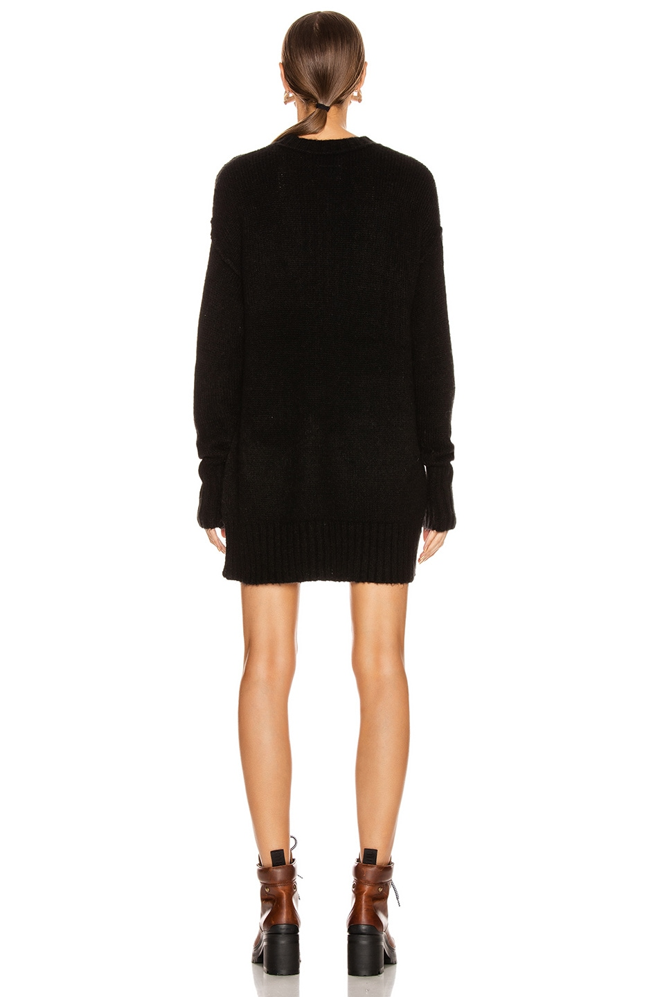 Image 3 of R13 Oversized Crewneck Sweater in Black