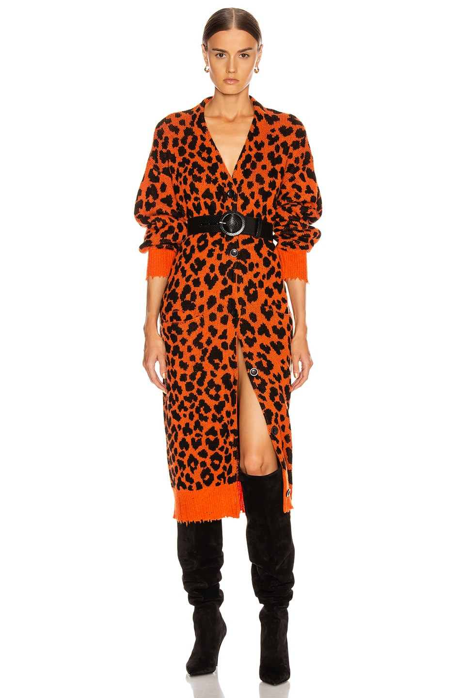 Image 1 of R13 Leopard Long Cardigan in Orange Leopard