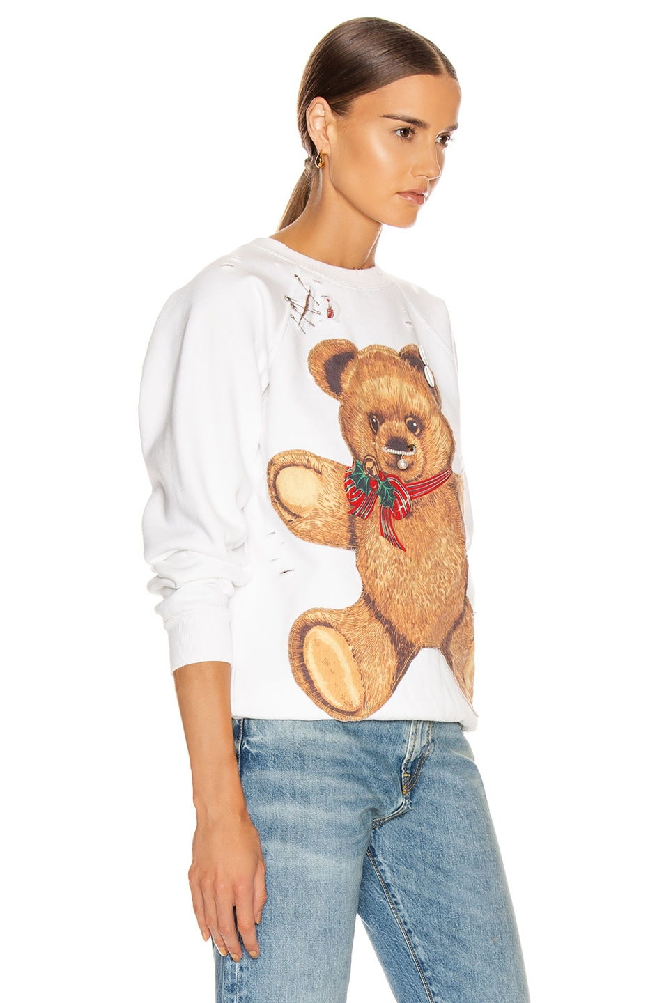 Image 2 of R13 Teddy Bear Crewneck Sweater in Dirty White
