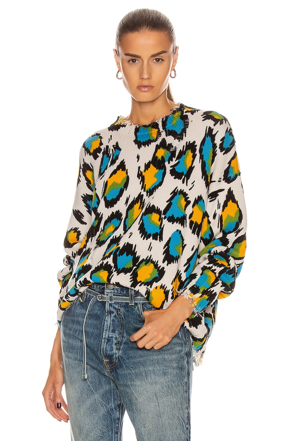 Image 1 of R13 Multicolor Leopard Oversized Sweater in Multicolor Leopard