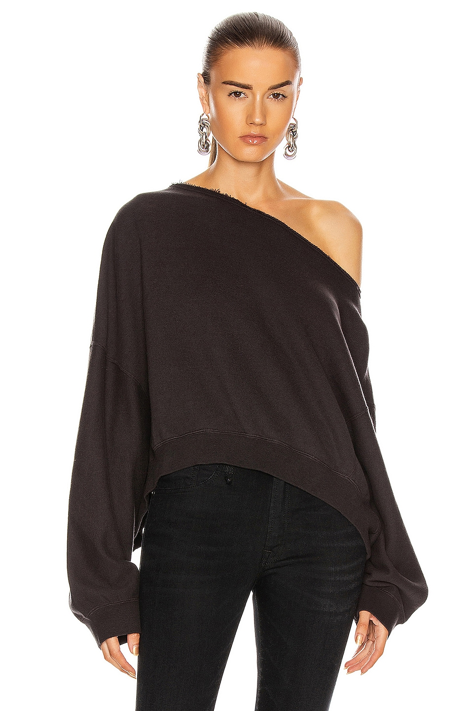 Image 1 of R13 Off Shoulder Patti Sweatshirt in Washed Black