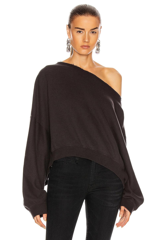 Image 1 of R13 Off Shoulder Patti Sweatshirt in Washed Black