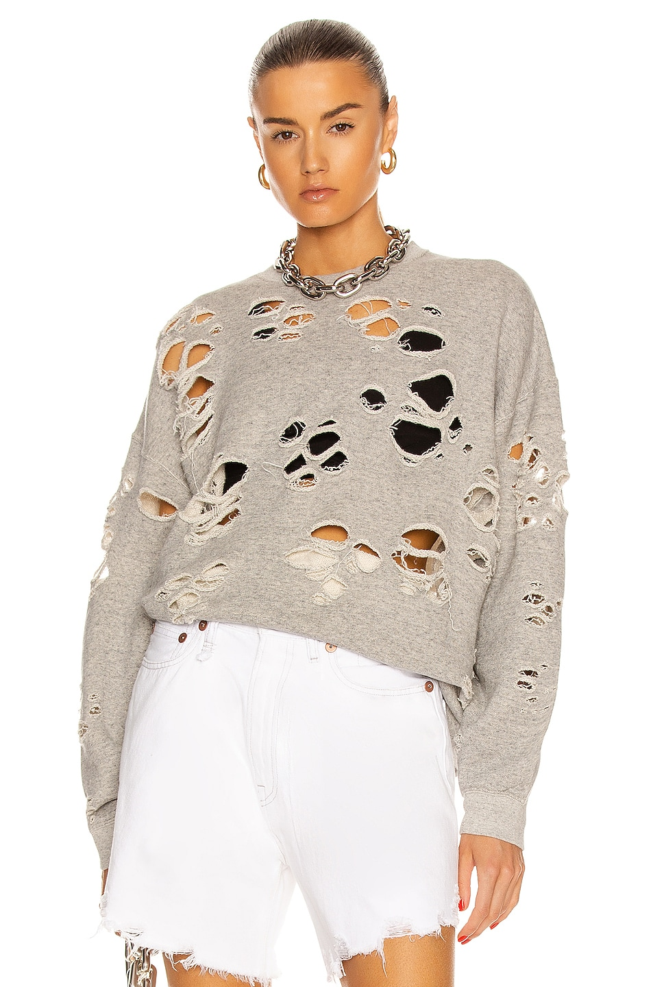 Image 1 of R13 Super Distressed Oversized Crewneck Sweater in Heather Grey
