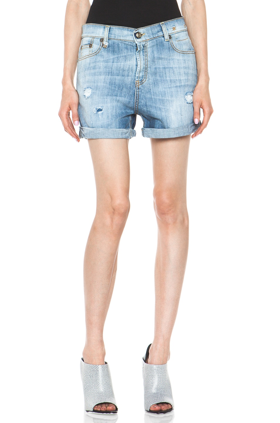 Image 1 of R13 Slouch Cut Off Short in Faded Blue Torn