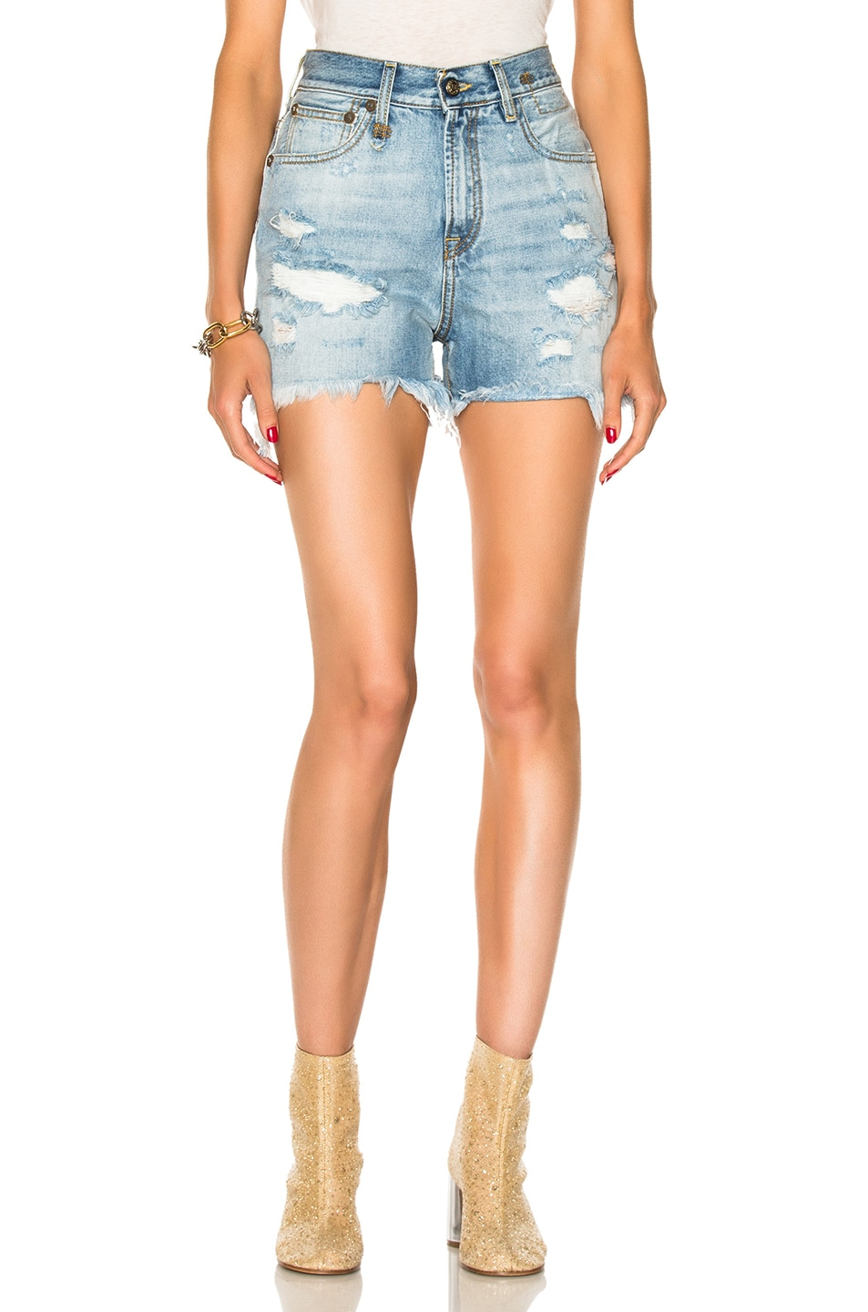 Image 1 of R13 Shredded Slouch Shorts in Bankside Blue