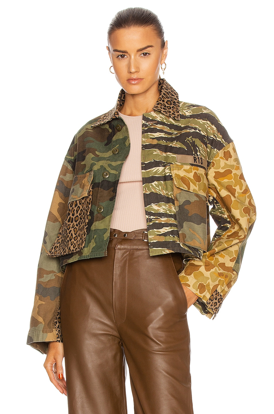 Image 1 of R13 Abu Cropped Jacket in Multi Camo