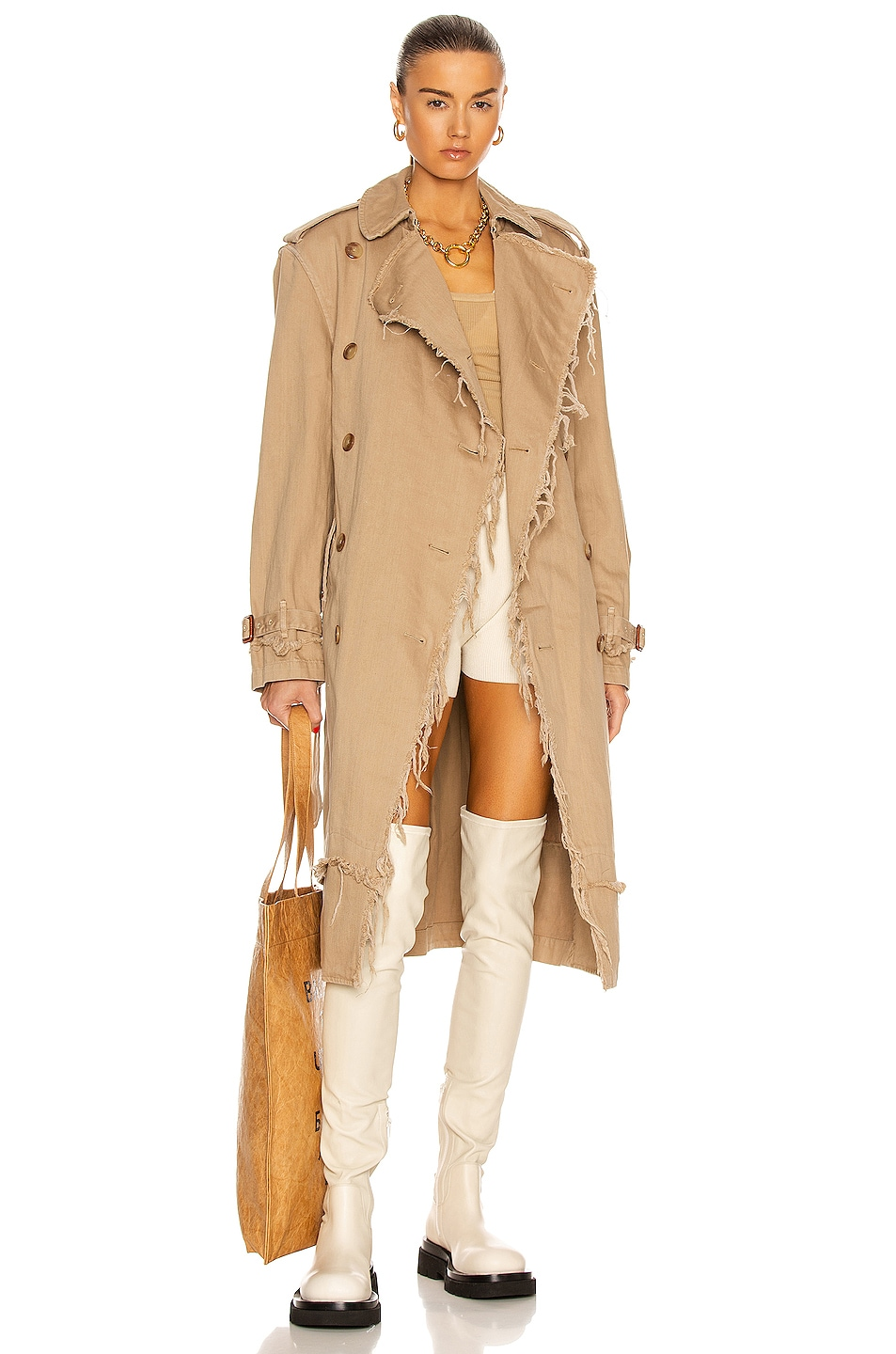Image 1 of R13 Shredded Trench Coat in Overdyed Beige