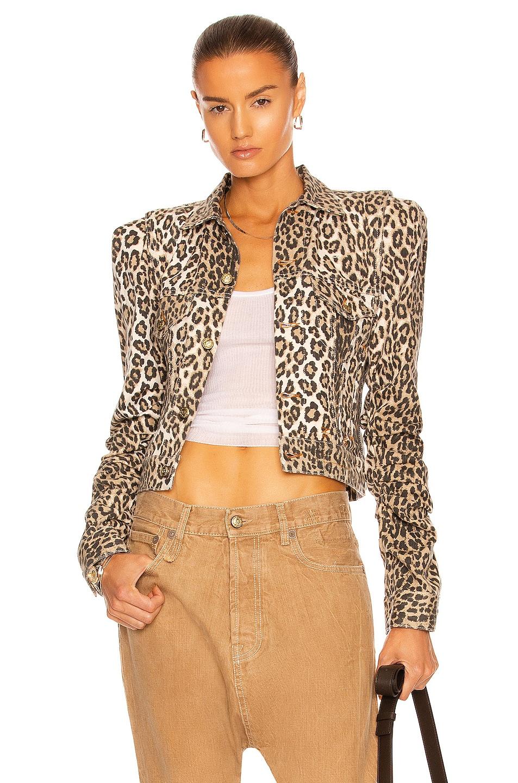 Image 1 of R13 Kelsey Shirring Jacket in Tyler Leopard
