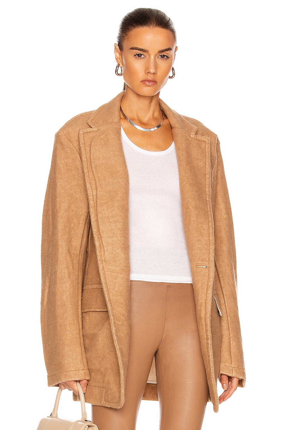 Image 1 of R13 Terry Oversized Ragged Blazer in Camel