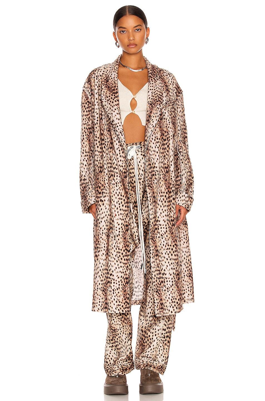 Image 1 of R13 Shredded Seam Robe in Cheetah