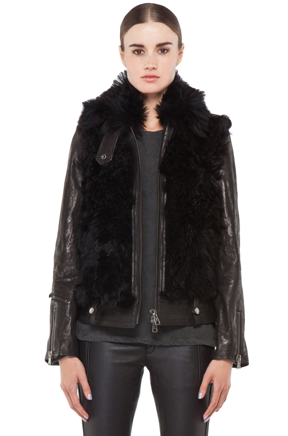 Image 1 of R13 Leather Shearling Bear Jacket in Black