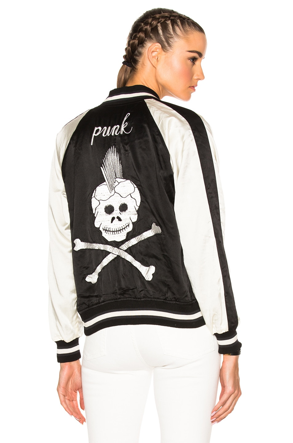Image 1 of R13 Reversible Punk Sukajan Bomber Jacket in Black & Ecru