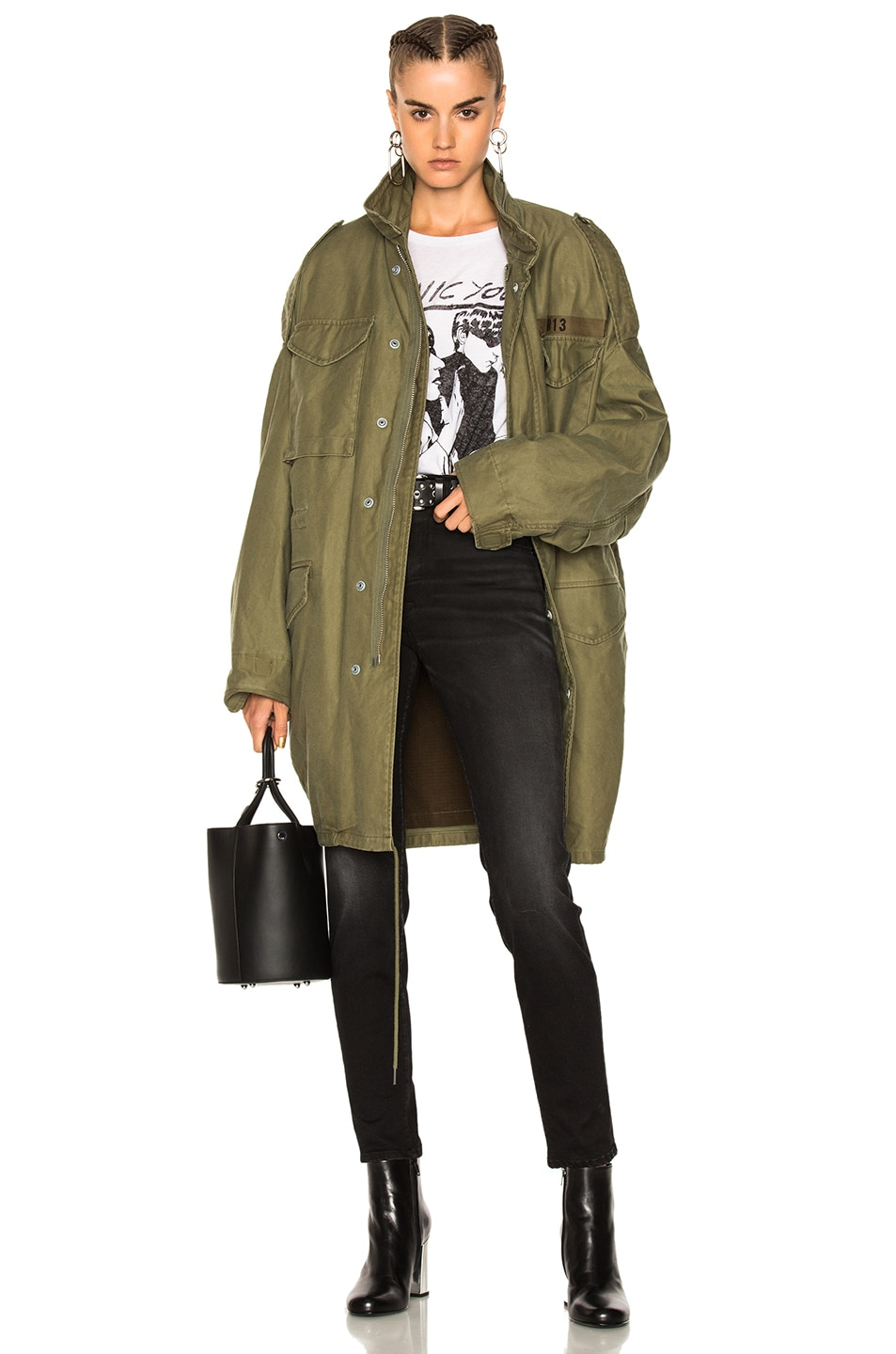 R13  R13 GUSSETED M65 JACKET IN GREEN