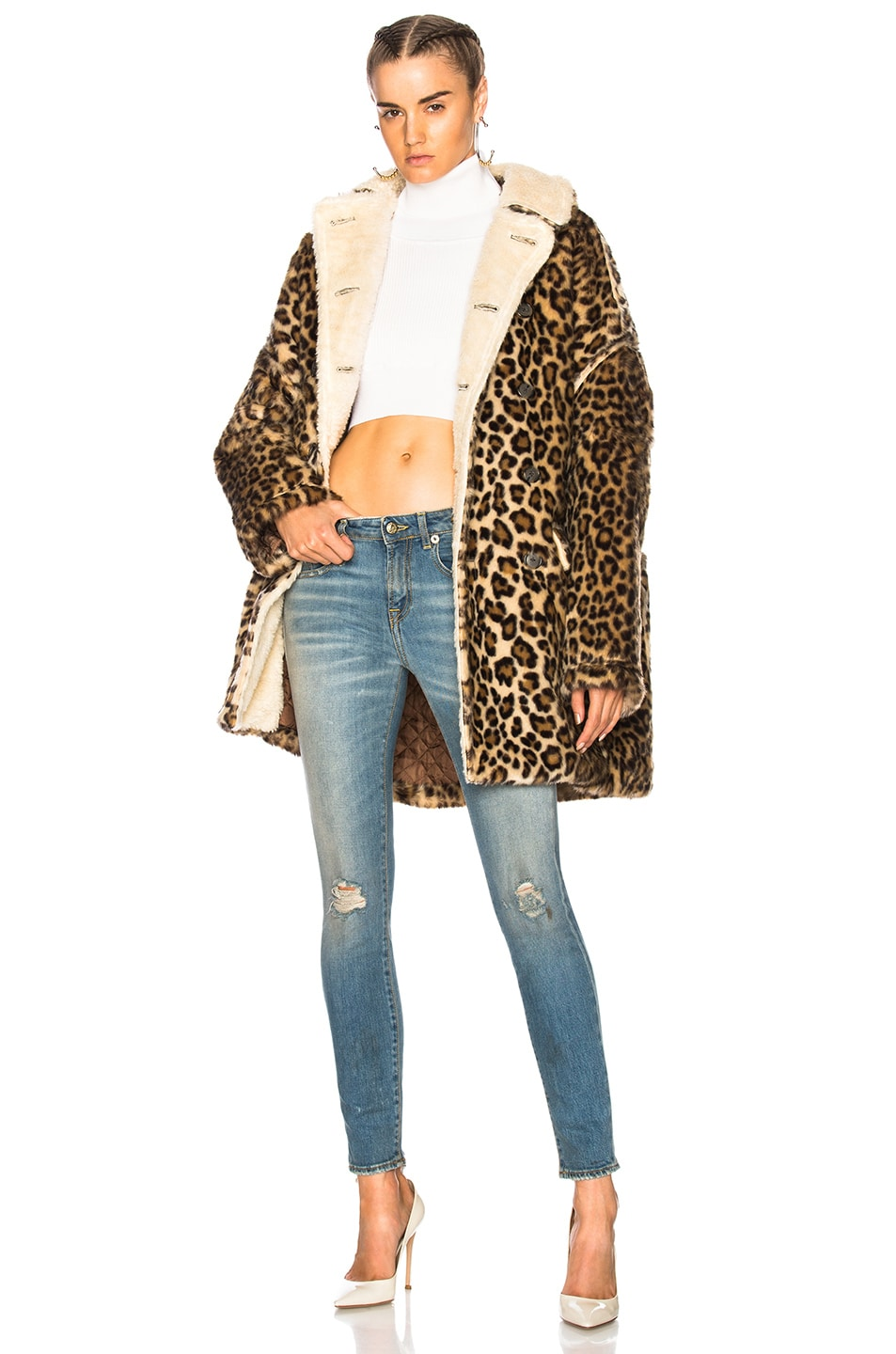 Image 1 of R13 Leopard Huntington Coat in Leopard