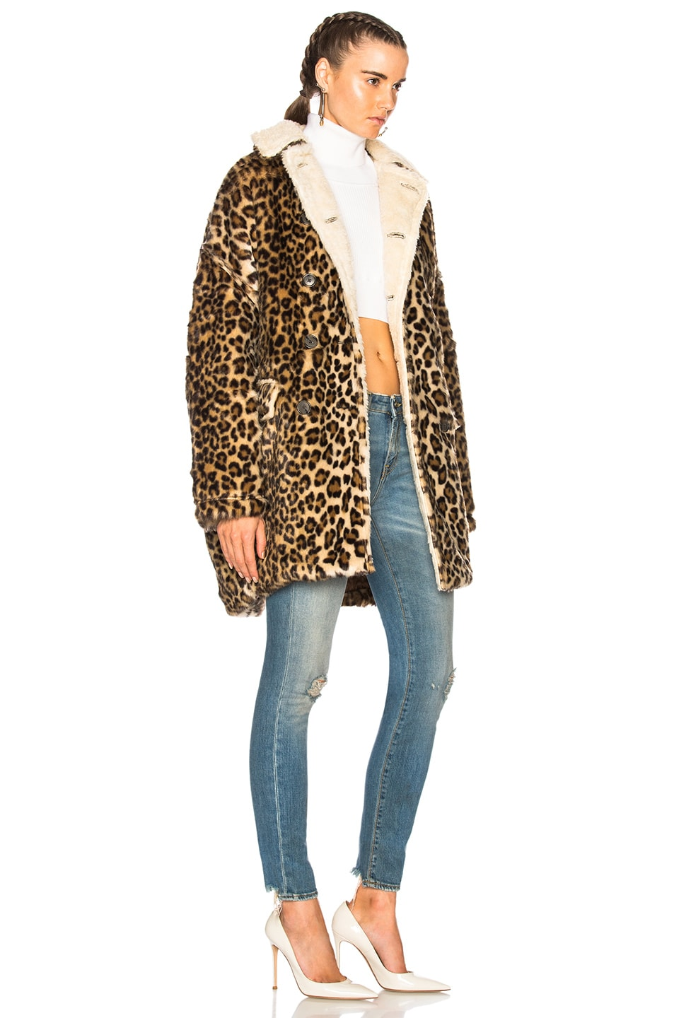 Image 3 of R13 Leopard Huntington Coat in Leopard