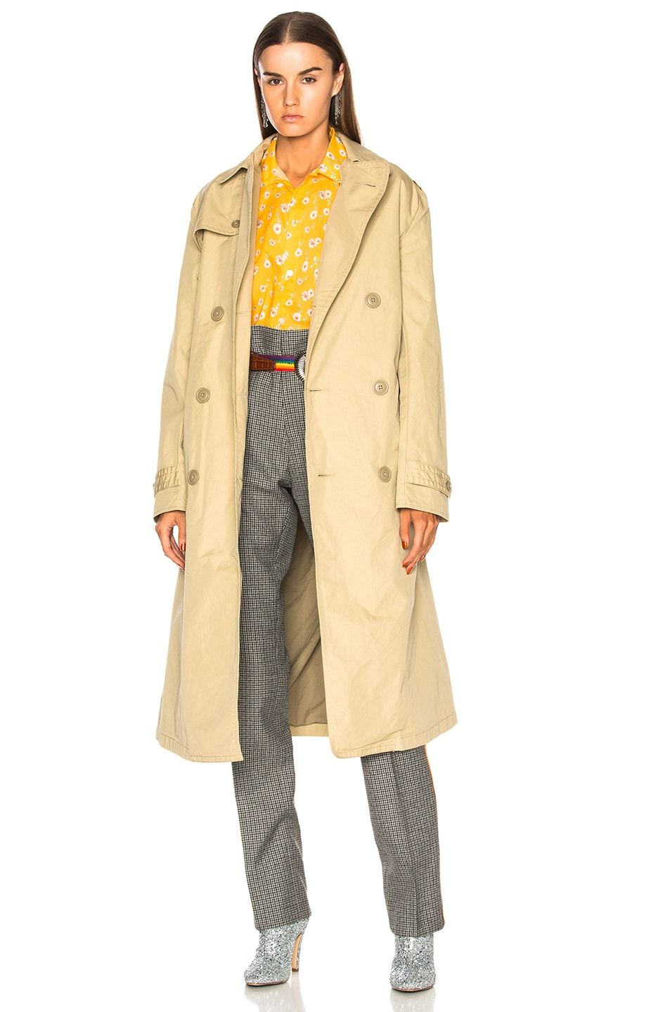 295ec2196b75 Image 1 of R13 Gusset Back Trench Coat in Khaki