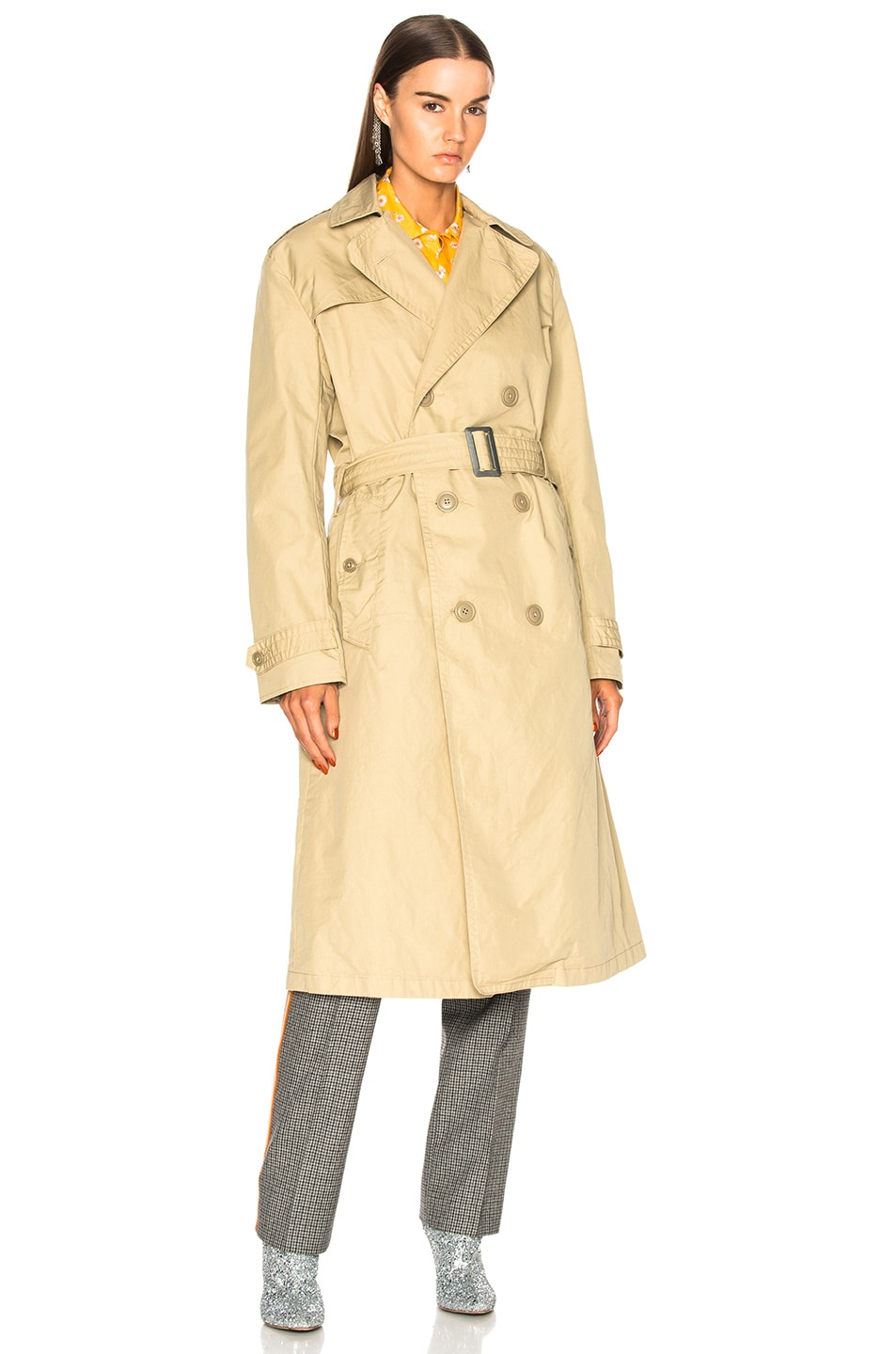Image 2 of R13 Gusset Back Trench Coat in Khaki