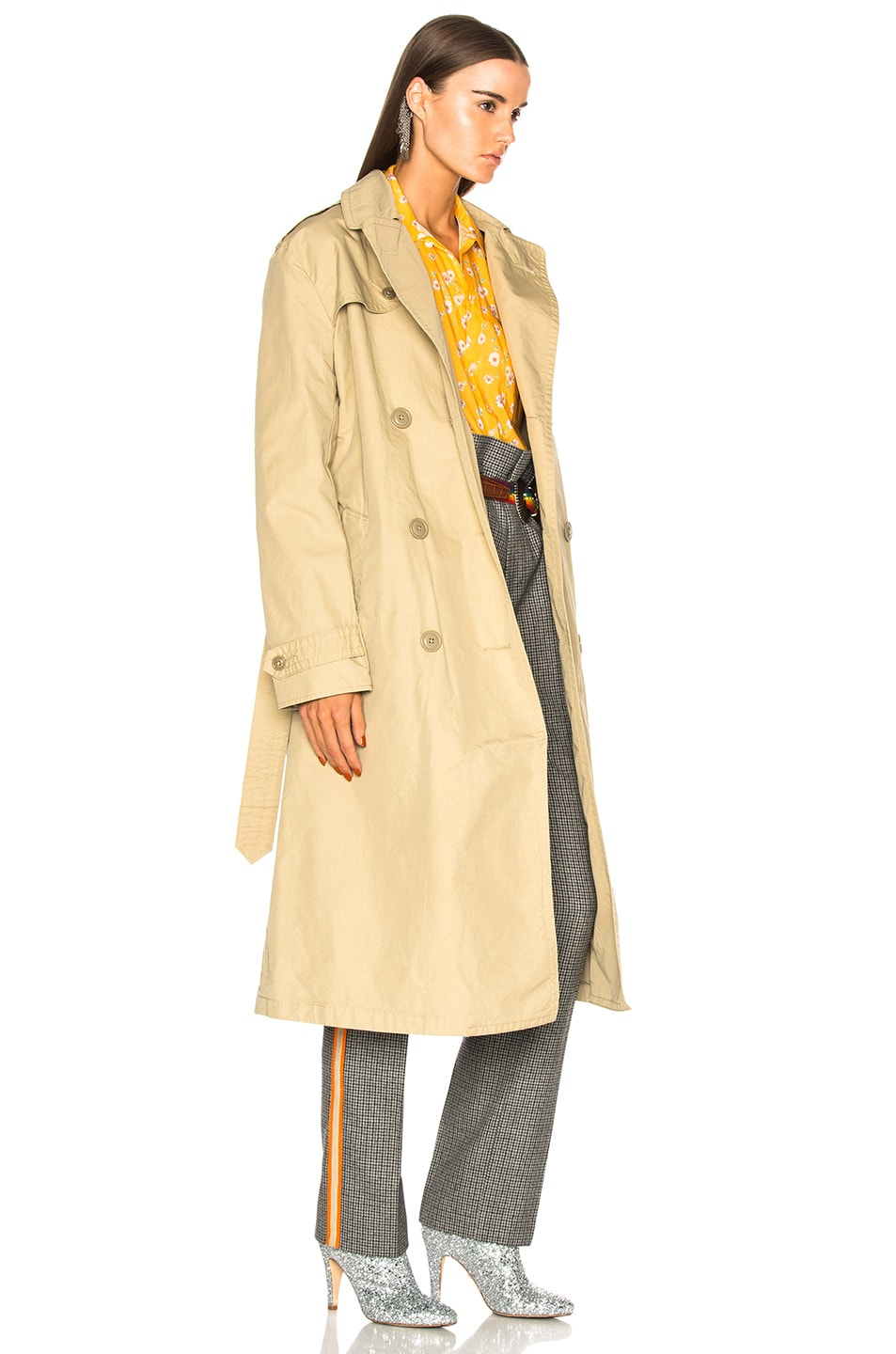 Image 3 of R13 Gusset Back Trench Coat in Khaki