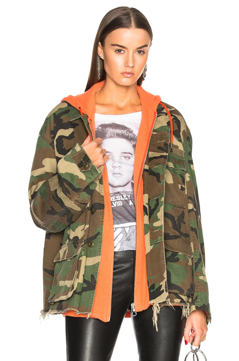 CONTRAST HOODED CAMOUFLAGE JACKET