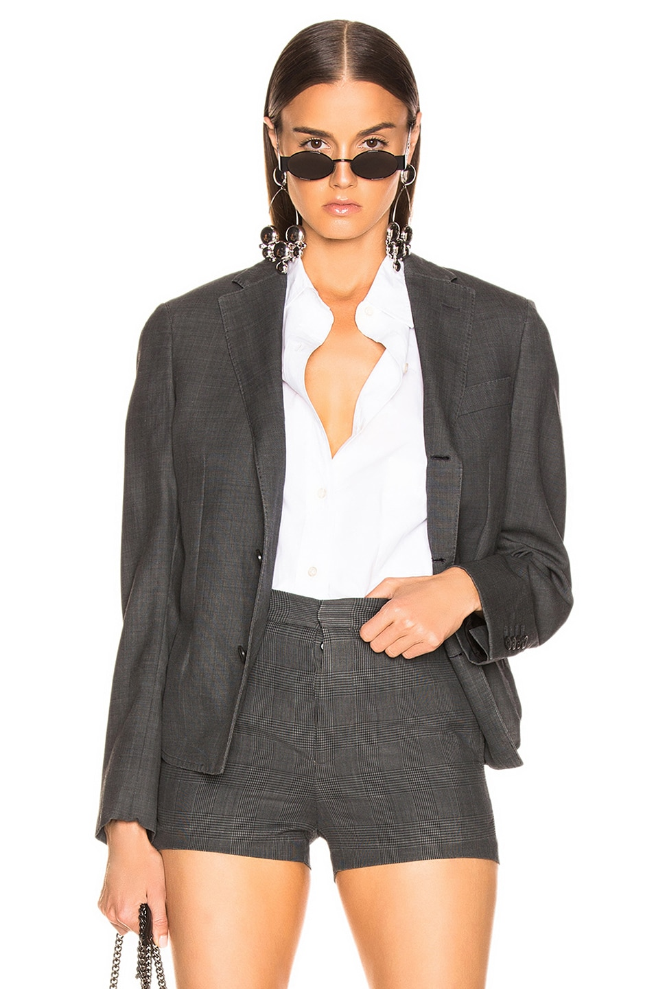 Image 1 of R13 Tucked Boyfriend Blazer in Grey