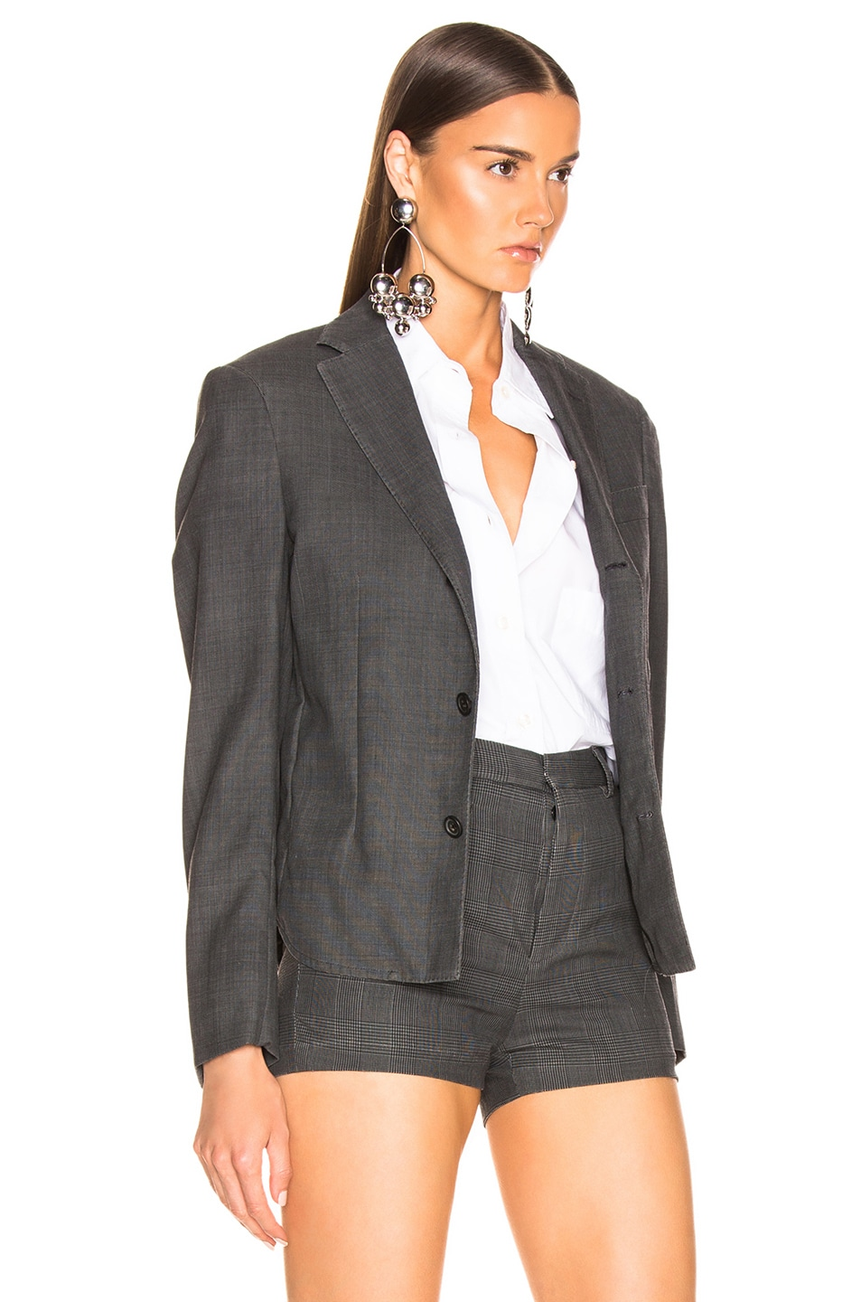Image 3 of R13 Tucked Boyfriend Blazer in Grey