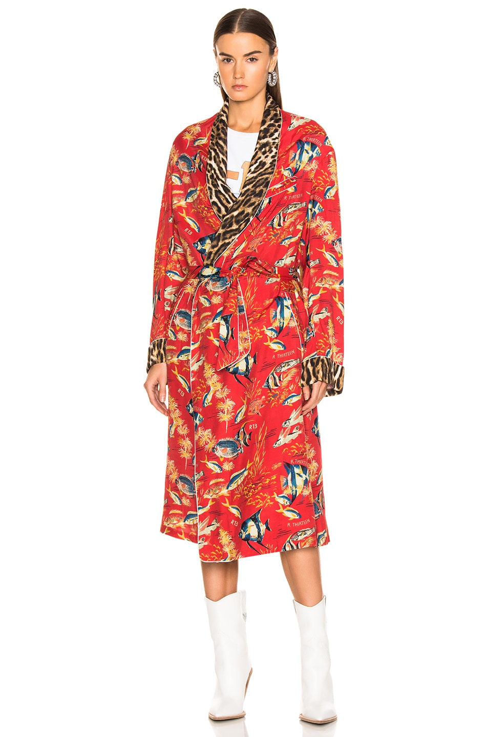 Image 2 of R13 Smoking Robe in Red Fish & Leopard