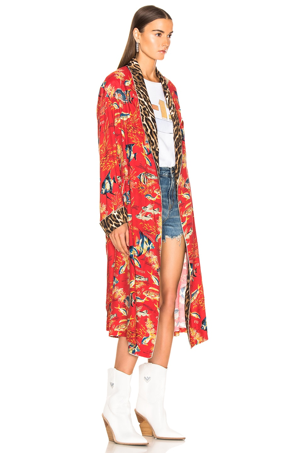 Image 3 of R13 Smoking Robe in Red Fish & Leopard