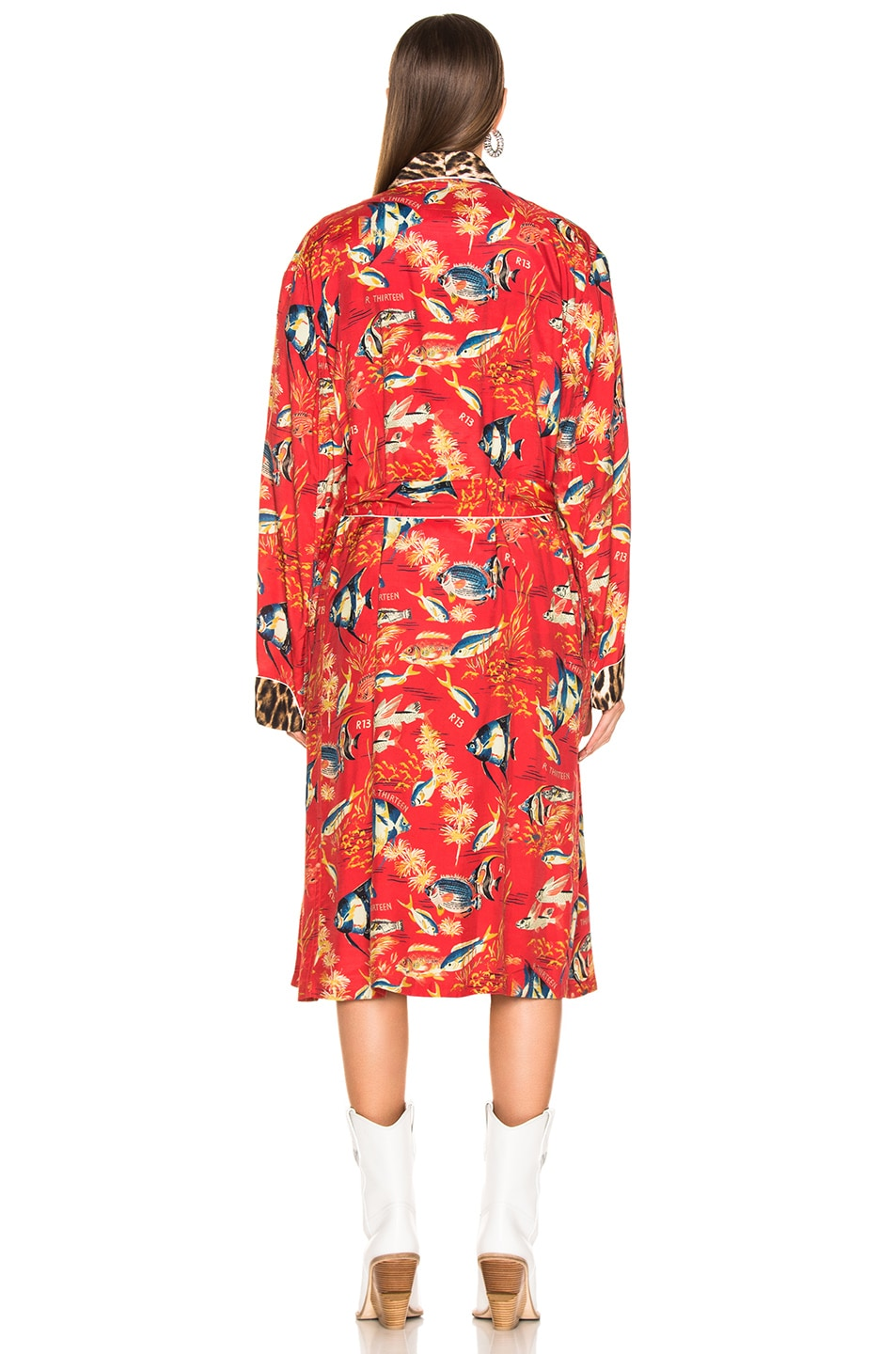 Image 4 of R13 Smoking Robe in Red Fish & Leopard