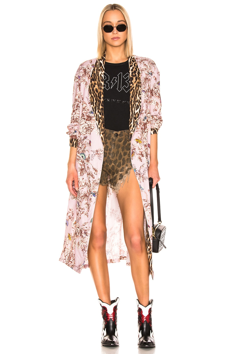 Image 1 of R13 Smoking Robe with Piping in Pale Pink Floral & Leopard