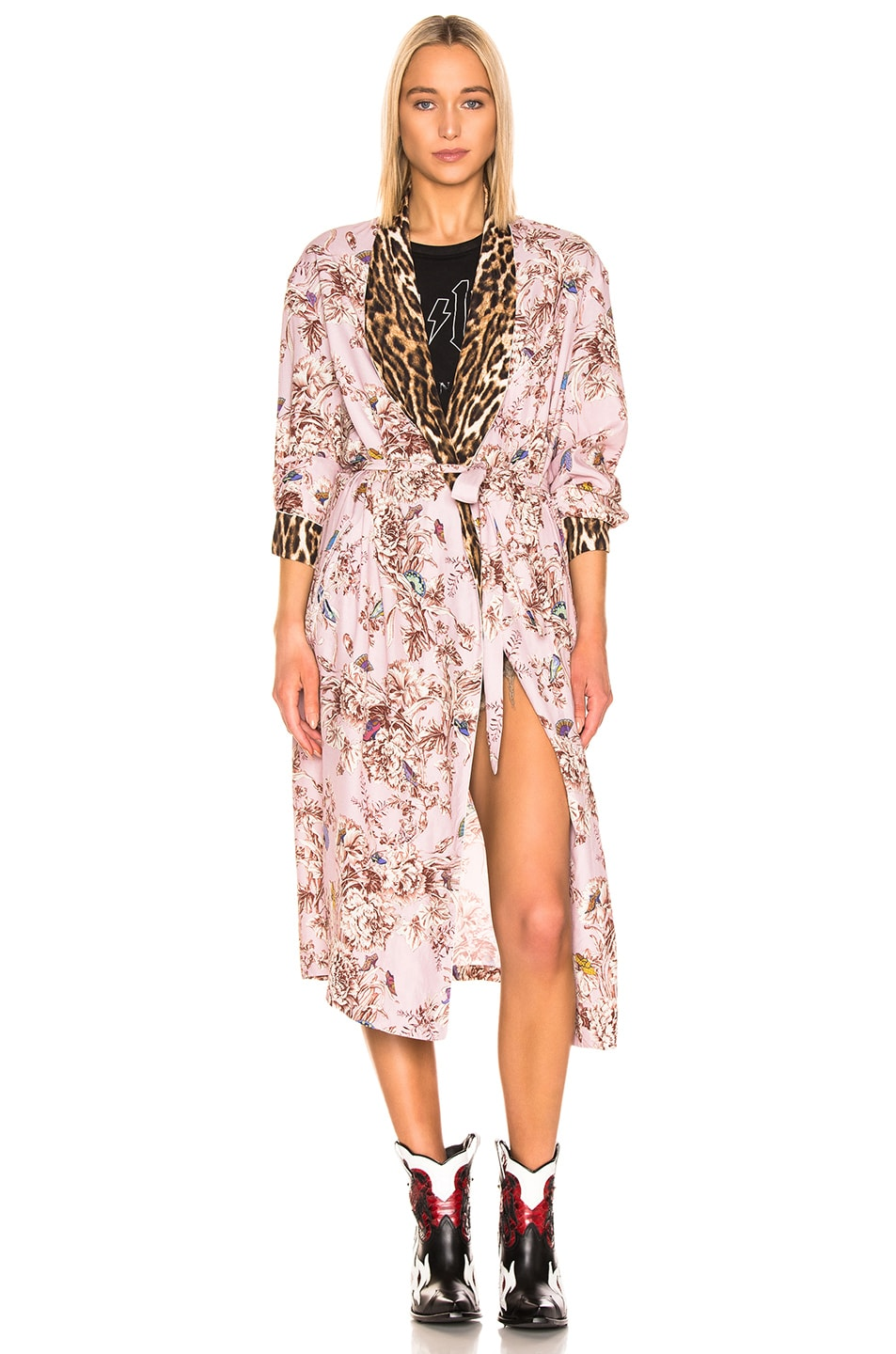 Image 2 of R13 Smoking Robe with Piping in Pale Pink Floral & Leopard