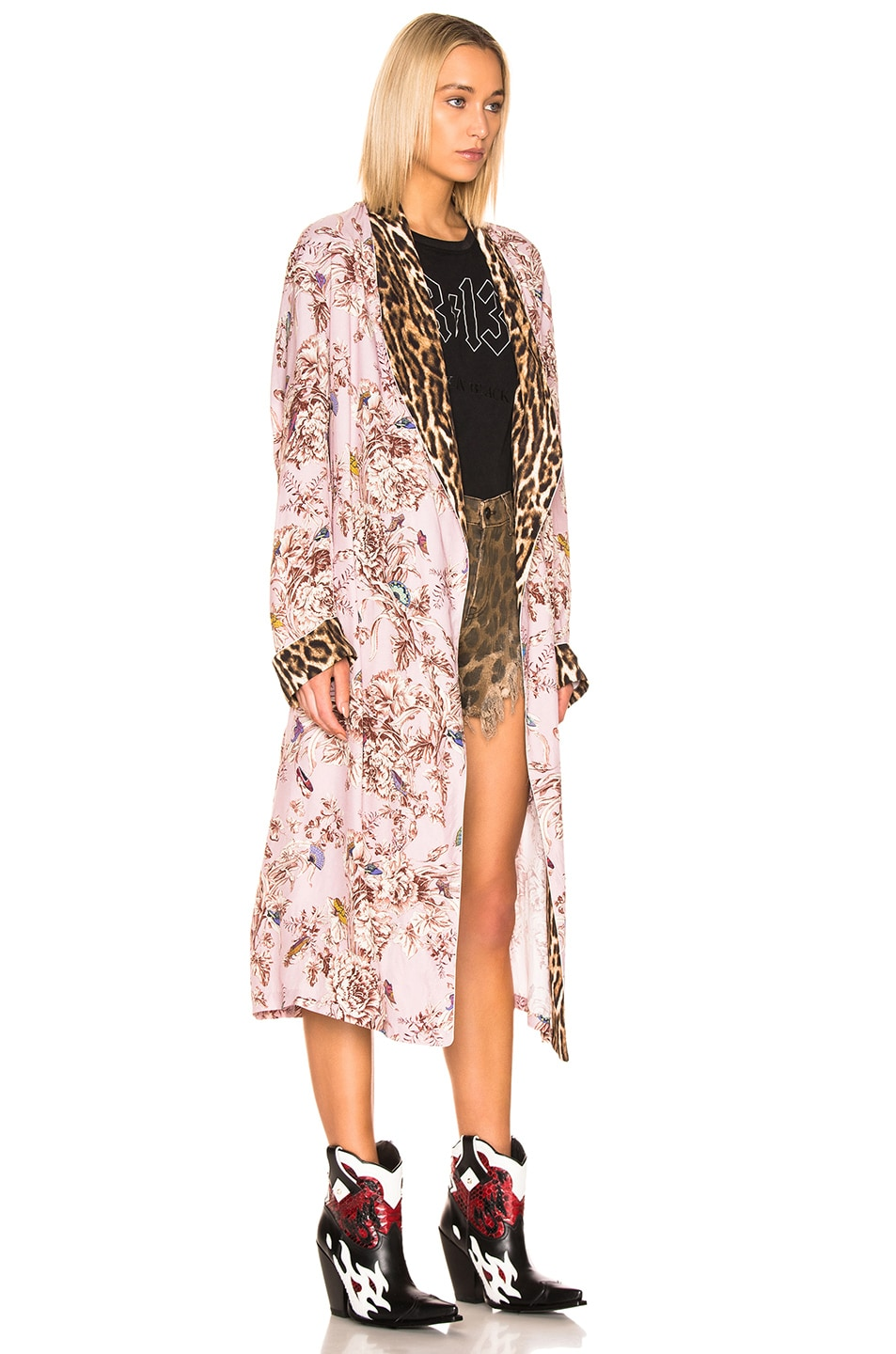 Image 3 of R13 Smoking Robe with Piping in Pale Pink Floral & Leopard