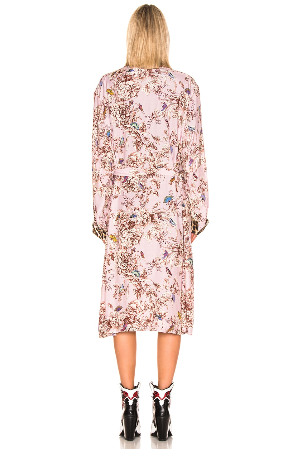Image 4 of R13 Smoking Robe with Piping in Pale Pink Floral & Leopard