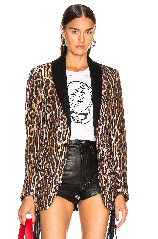 Image 1 of R13 Shawl Lapel Tuxedo Blazer in Leopard